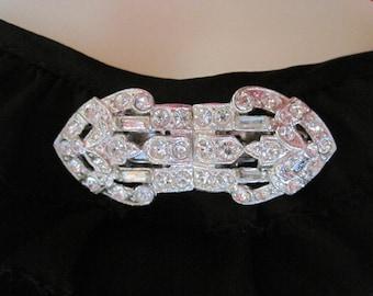 Vintage Duette Petite Rhinestone Dress Clips Pin Brooch