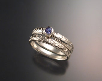Tanzanite Wedding set sterling silver Victorian bezel set two ring set made to order in your size