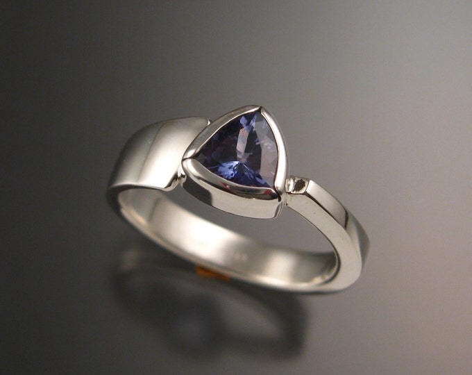 Tanzanite triangle ring Sterling Silver Large Stone Asymetrical setting made to order in your Size
