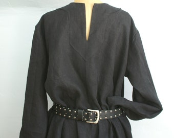 black linen mens early medieval viking tunic shirt for sca larp or renaissance faire size M -ready to ship-