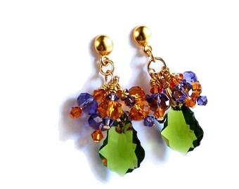 Purple and Green and Topaz Swarovski Crystal Earrings long Chandelier dangle earrings olivine amber lavender amethyst on gold vermeil posts