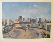 San Francisco Downtown Painting Skyline Freeway Cars Urban Still Life