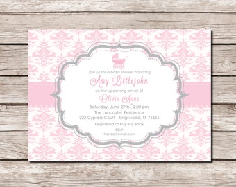 Baby Pink Damask & Grey Carriage Baby Shower Invite - DIGITAL FILE