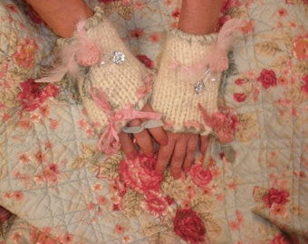 Fingerless Gloves Hand Knit Wool Blend in Cream with Romantic Rose and Silk Trim