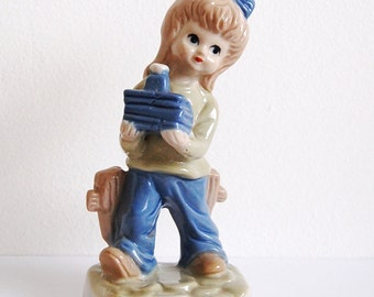 Vintage Figurine - Girl next to Fence - Hummel Style - Jota Fine Ceramics - Home Decor Statuette - 1970s - German from Germany