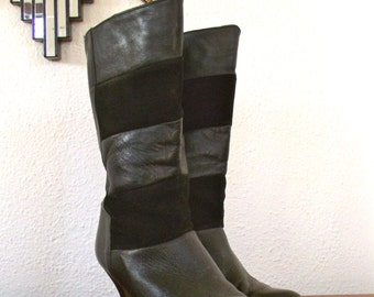 sale 80s Sex Kitten Black Leather and Suede Chevron Perfect High Heeled Boots size 6.5 / size 7