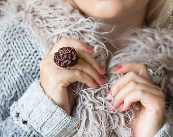 Brown fabric rosette ring Party ring Fibre Art Flower