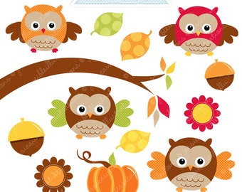 Autumn Hooters Cute Digital Clipart - Commercial Use OK - Autumn Owl Graphics, Autumn Clipart, Autumn Graphics, Owl Clipart