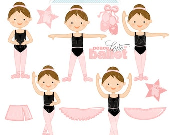Ballerina Positions Brunette Cute Digital Clipart - Commercial Use OK - Ballerina Clipart, Ballerina Graphics