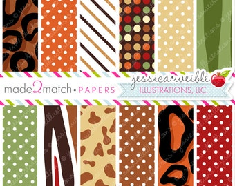 Safari Cute Digital Paper Backgrounds for Commercial or Personal Use, Animal Print Papers, Patterns