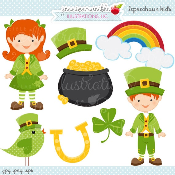 Leprechaun Kids Cute Digital Clipart - Commercial Use OK - St ...