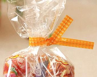 50 Twist Ties - Gingham Check / Orange (0.3 x 4.7in)