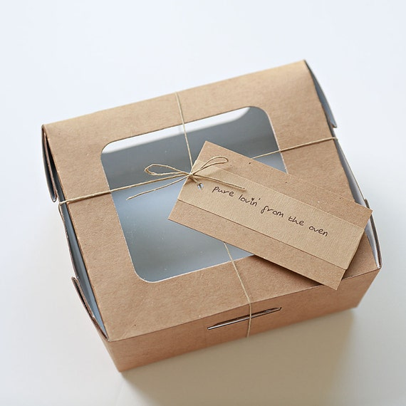 RESERVED -  12 Kraft Compostable Salad Boxes 5x5x3 inch - with custom tags/hemp