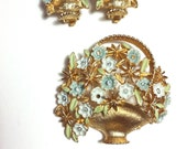 Vintage KRAMER Rhinestone Blue Enamel Big Flower Basket Brooch & Earrings Set