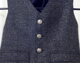 Boy's Single-Breasted Vest in Wool Herringbone with Metallic Thread Accent