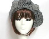 Beret Hat Bow, Black & White Herringbone Wool Beret Hat Bow, Wool Beret Bow, Black and White Hat, Hat with Bow