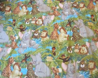Jungle Babies Quilting Fabric ,Elephants, Monkeys, Lions, Tigers, Giraffes