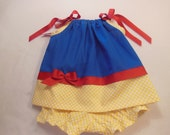 Disney Snow White Inspired Pillowcase Dress with Diaper Cover Choose the size NB up to 3t