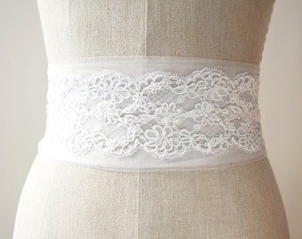 Wedding Sash, Tulle Sash, Lace Sash, Bridal Sash