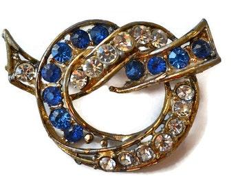 Blue Rhinestone Brooch Vintage Sapphire and Diamond Rhinestone Blue Brooch Rhinestone Pin