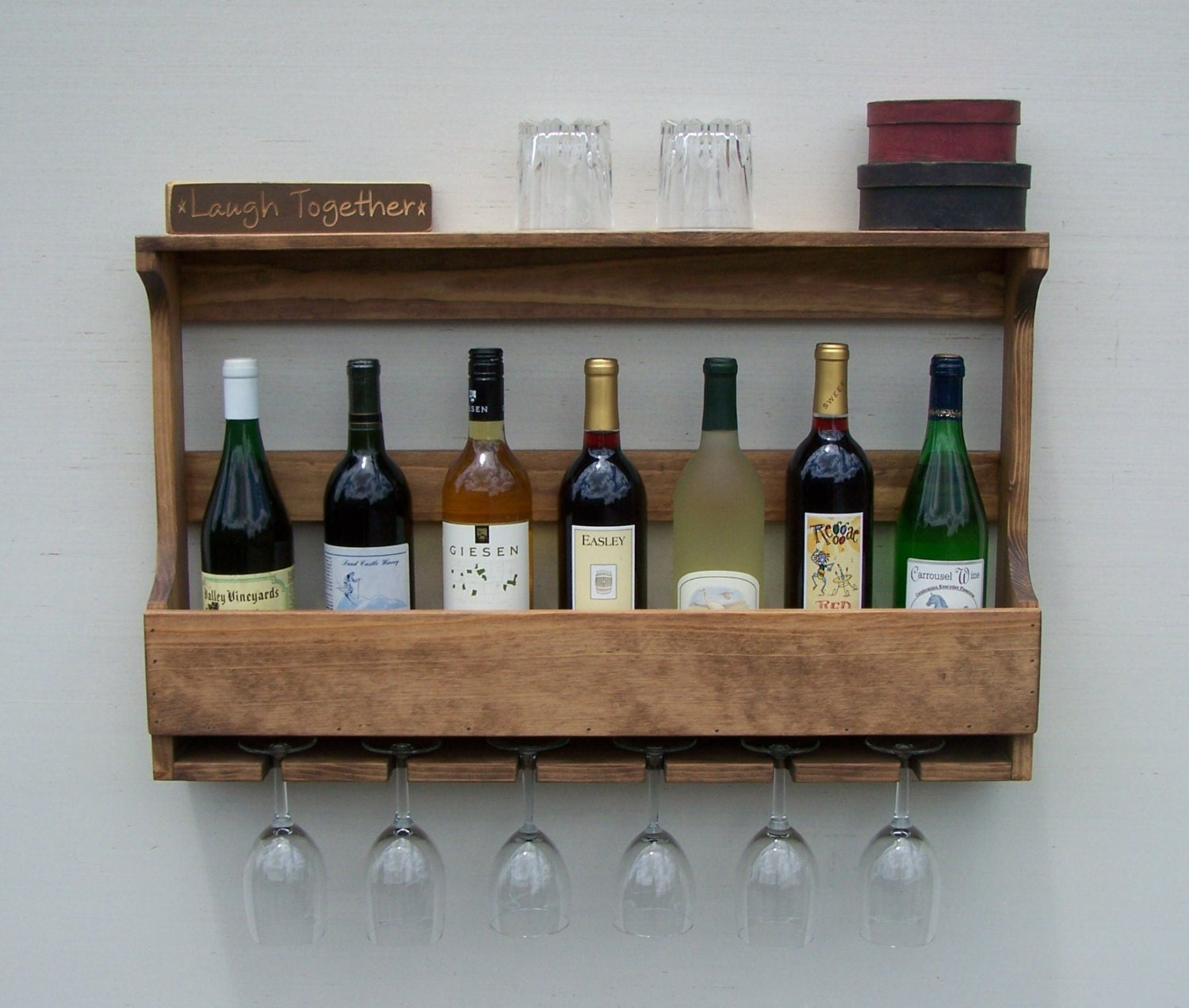 Rustic Wall Mount 9 Bottle Wine Rack With 6 Glass Holder
