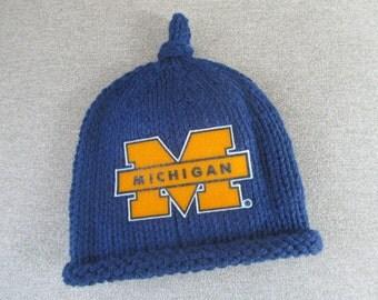 MICHIGAN Hand Knit Baby Hat - University of Michigan Baby Hat - Michigan Hand Knitted Baby Hat