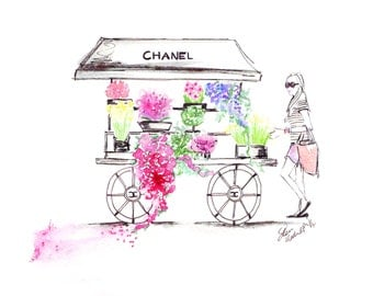 Watercolour fashion illustration Titled Chanel in Bloom