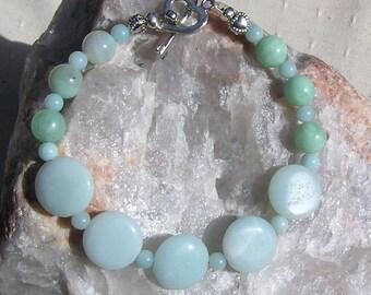 "Pale Green Amazonite Gemstone Crystal Bracelet ""Chenille"", Green Bracelet, Amazonite Bracelet, Chakra Bracelet, Virgo, Summer Bracelet"