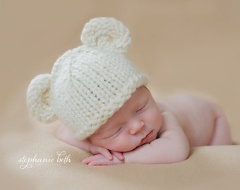 Bear Hat and Baby Diaper Cover, Newborn, Cream, Chunky Wool, Infant Photo Prop, U Choose Color