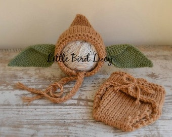Yoda Inspired Hat & Diaper Cover, Knitted Baby Prop Set, Halloween Costume Star Wars Newborn Gift Set, Hand Knit Costume