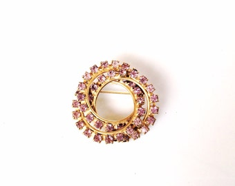 Vintage rhinestones circle brooch intersecting circles mint condition pink/purple stones