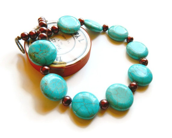 Statement Bid Turquoise Necklace Turquoise Jewelry Brown Pearl Necklace Beaded Gemstone
