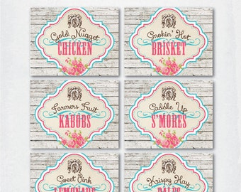 VINTAGE COWGIRL Birthday Party  --  Tent Style MENU food cards  --  Printable downloadable file