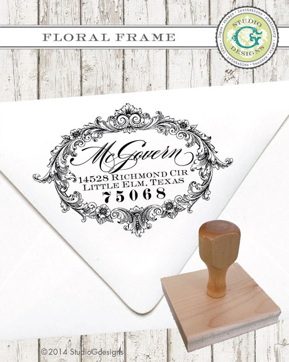 Return Address Stamp – 1.5 x 2.5 in FLORAL FRAME – Personalized Wedding paper Goods