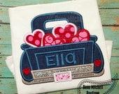 Valentines Truck Applique Embroidery Design
