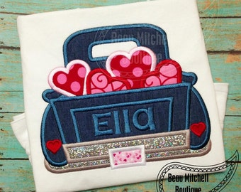 Valentines Truck Applique Embroidery Design