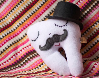 Super Soft And Plush Mustache Top Hat Tooth Fairy Pillow