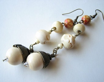 Beaded earrings | wood acorn | autumn | long