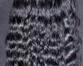9 piece  Human Hair extensions   16 inch  JET BLACK  'FRENCH' wave . Straightens beautifully