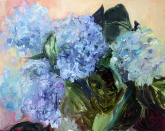 Blue and Purple Hydrangeas Oil Painting