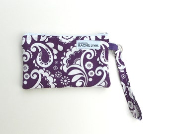 Purple White Paisley Wristlet - Awesome Bridesmaid Gifts!