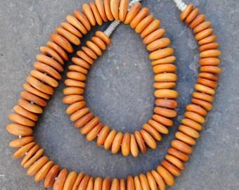 African Bone Beads: Brown Discs