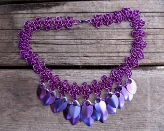 Violet Dragon-Scales Necklace