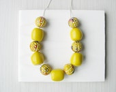 Mustard Yellow Necklace - Resin Jewelry, Tribal Style, Long, Geometric, Ceramic Beads, Chunky, Red, Black, Boho Style