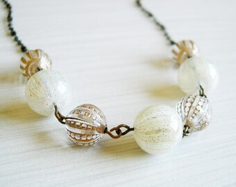 Gold Necklace - Bridal Jewelry, Glitter, Bubble Glass, Mixed Beads, Vintage Acrylic, Wedding, Antiqued Brass