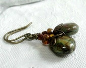 Olive Green Earrings Small Green Glass Earrings Speckled Round Dangle Earrings