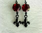 Fleur De Lis Earrings Neo Victorian Jewelry Red Crystal Earrings French Victorian Earrings Black and Red Earrings Romantic Gift