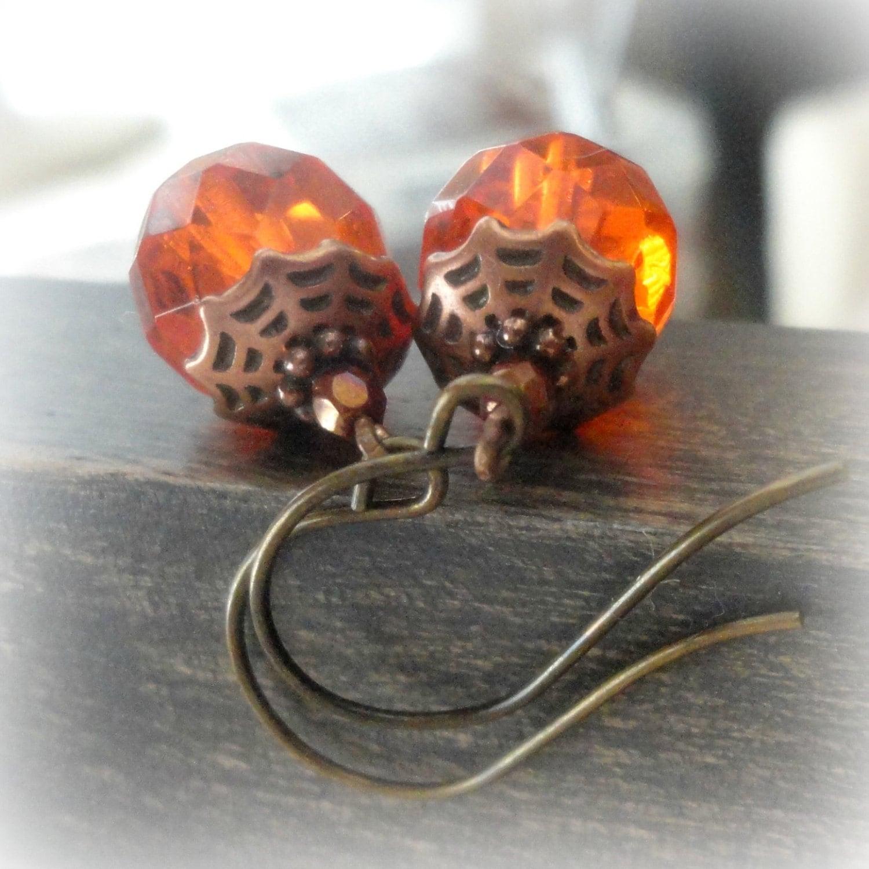 orange harvest jewelry orange glass earrings pumpkin