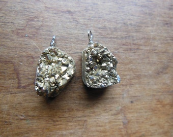 Set E Lot of Two Matching Druzy Golden Gold Aura Quartz Crystal Cluster Wire Wrapped Beads Pendants Earrings Reiki Healing