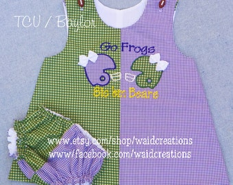Football 'House Divided' baby, toddler girl A-Line dress and bloomers